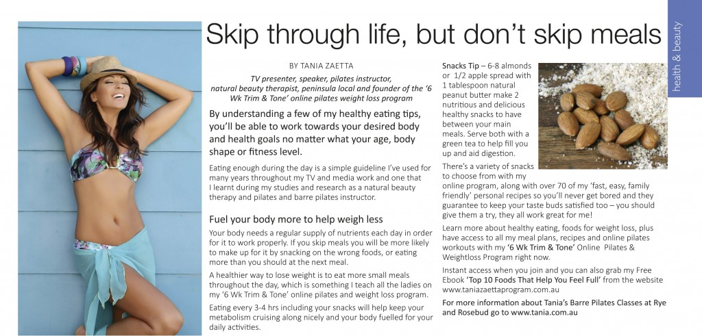 Tania Zaetta - Skip through life, but don't skip meals April 2015